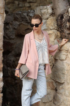 pink H&M blazer - light blue Zara jeans - tan H&M bag - off white H&M top