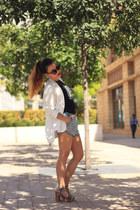 white Vero Moda blazer - black shirt - light blue H&M shorts