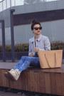 Light-blue-topshop-coat-blue-bershka-jeans-olive-green-topshop-shirt