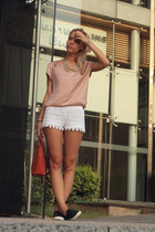white lace H&M shorts - black Topshop shoes - brick red Zara bag