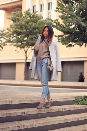 Topshop coat - Stradivarius jeans - Zara sweater - H&M bag - H&M blouse