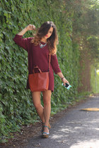 burnt orange Zara bag - brick red Topshop dress - turquoise blue Zara heels