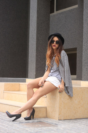 black H&M hat - heather gray H&M shirt - H&M bag - charcoal gray H&M cardigan
