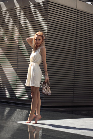 sky blue pull&bear jacket - cream H&M dress - nude heels