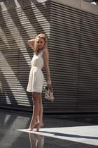 sky blue pull&bear jacket - cream H&M dress - nude heels