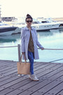 Light-blue-topshop-coat-blue-bershka-jeans-olive-green-topshop-shirt