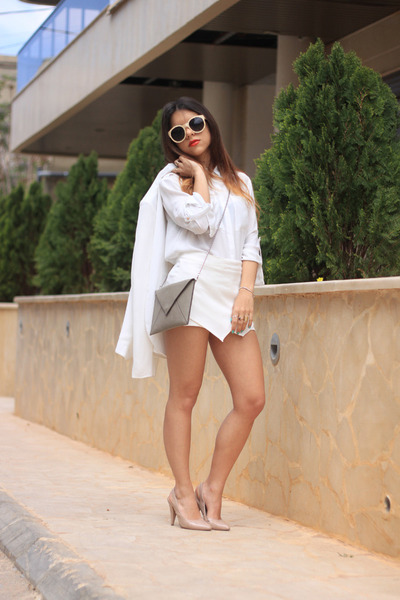 white H&M blouse - white Vero Moda blazer - tan H&M bag - white H&M shorts