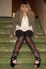 Dark-brown-mettallic-jeans-dark-khaki-animal-print-dollhouse-jacket