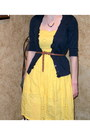 38822f2e0ad ... Yellow-thrifted-dress-navy-cardigan-brown-belt ...