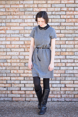 heather gray Loft dress - black Forever 21 tights