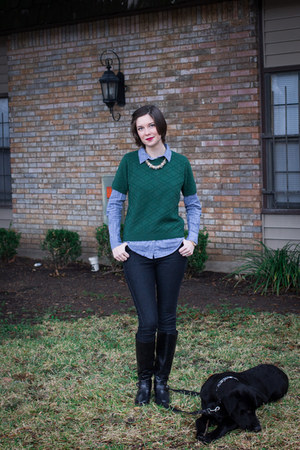 dark green Unknown thrifted sweater - light blue cotton Forever 21 blouse