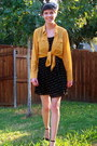Mustard-blouse-black-forever-21-dress-silver-accessories