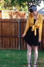 Black-forever-21-dress-mustard-blouse-silver-accessories