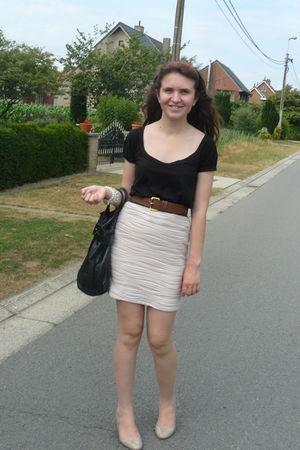 black H&M blouse - pink H&M skirt - brown H&M belt - beige Tops shoes