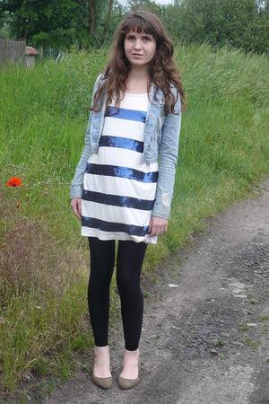 blue H&M jacket - white H&M dress - black Bershka leggings - brown H&M shoes - g