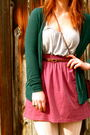 American-apparel-skirt-gap-tights-green-urban-outfitters-cardigan-gray-old