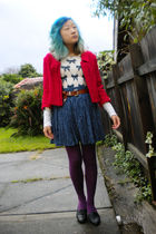 beige sweater - red jacket - blue skirt - brown belt - purple Target Australia t