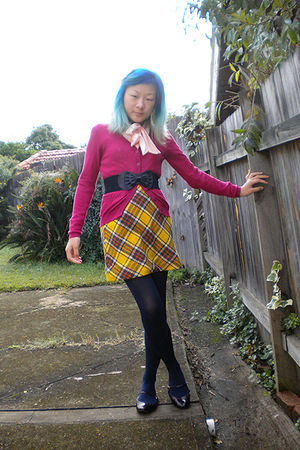 pink chicabooti cardigan - pink blouse - black belt - gold skirt - blue Target A