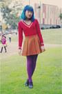 Light-pink-vintage-coat-ruby-red-thrifted-ladahk-sweater-amethyst-target-tig