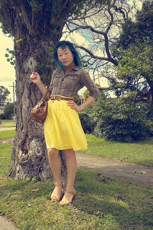 green forever blouse - gold Marcs skirt - brown belt - beige Nine West shoes - b