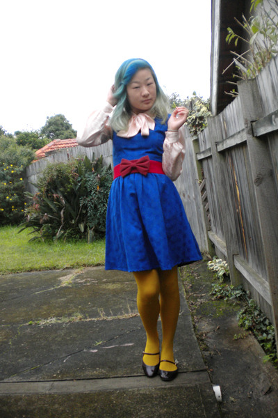 blue Revival dress - pink blouse - red belt - gold tights - purple Mossimo shoes