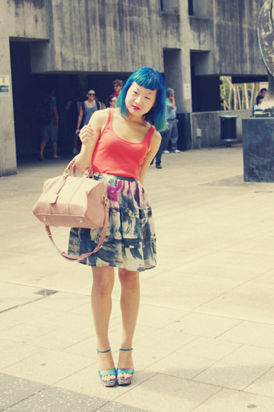 light pink bag - teal Nine West wedges - blue Barkins skirt - carrot orange fade