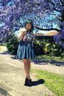 White-chicabooti-shirt-teal-skirt-dark-brown-belt-tawny-jeffrey-campbell-s