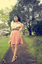 eggshell shirt - peach skirt - brown belt - brown bardot shoes
