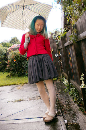 red jacket - gray junk skirt - beige tights - beige Union Bay shoes