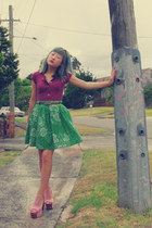 magenta American Eagle top - green milk & honey skirt - tawny Valleygirl belt -