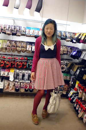 pink chicabooti cardigan - blue Temt top - red skirt - pink Target tights - brow