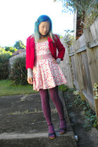white dress - red jacket - red belt - purple Target Australia tights - black Esp