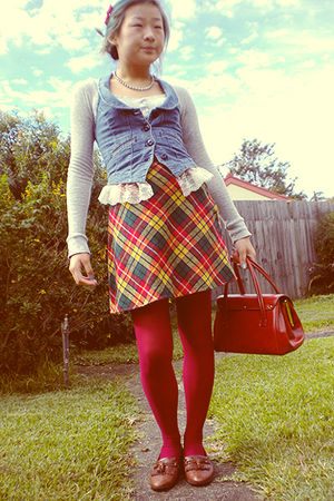 gray Unionbay shirt - blue Guess Jeans vest - red skirt - pink tights - brown Ca