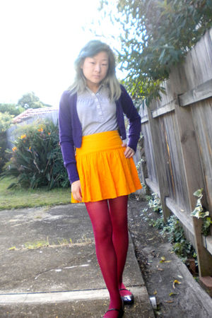 gray poof excellence shirt - purple Ally cardigan - orange French Connection ski
