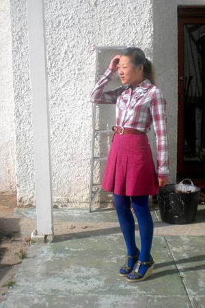 white Paper Scissors shirt - pink skirt - brown belt - blue tights - green Barki