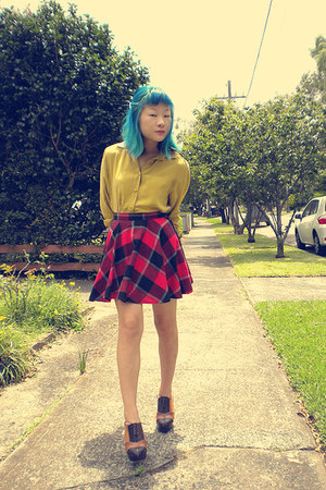 mustard blouse - red skirt - tawny Jeffrey Campbell shoes