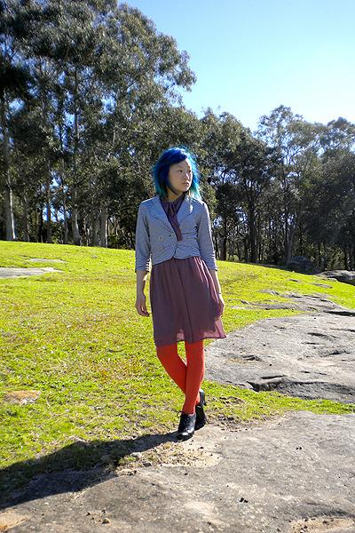 purple dress - gray chicabooti blazer - orange tights - black Alchemy shoes