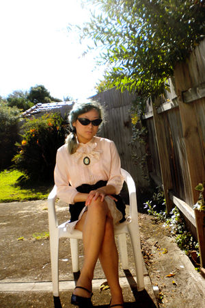 pink blouse - black skirt - purple Mossimo shoes - Just jeans sunglasses - beige