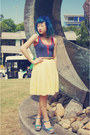 Navy-valleygirl-top-light-yellow-marcs-skirt-tawny-valleygiril-belt-turquo