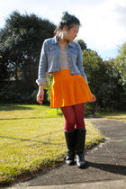 blue Squeeze Girls jacket - gray Union Bay top - orange French Connection skirt