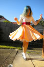 Orange-dress-white-foxy-cardigan-red-belt-silver-new-look-shoes