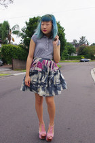 heather gray poof excellence top - blue thrifted Barkins skirt - light pink foxy