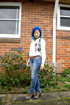 gray Anne Klein vest - white shirt - blue American Eagle jeans - brown belt - br