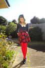 Blue-temt-top-red-skirt-red-tights-black-alchemy-shoes-gray-oroton-bag