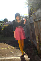 green Old Navy shirt - pink Millers skirt - brown belt - gold tights - brown Ame