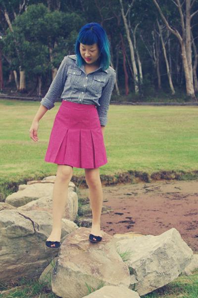 blue gingham EF Collection shirt - hot pink vintage skirt - black suede Joanne M