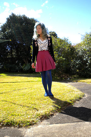 black Alannah Hill cardigan - white Valleygirl top - pink skirt - blue tights -
