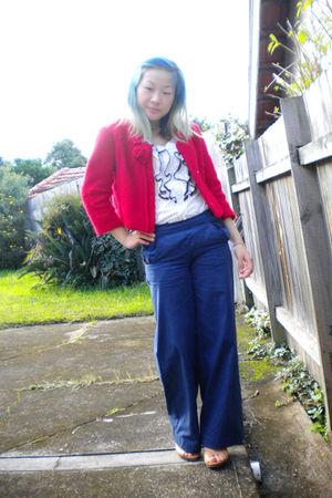 red jacket - white Valleygirl top - blue Revival pants - beige Nine West shoes