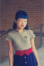 Dark-khaki-arizona-top-navy-temt-skirt-red-bow-belt-ruby-red-thrifted-golc
