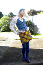 white blouse - blue Guess Jeans vest - gold skirt - blue tights - red golc shoes